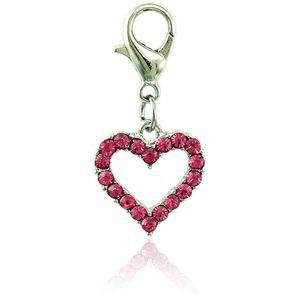 Charms galleggianti di moda JINGLANG con chiusura a moschettone ciondolo con strass cuore pesca per gioielli che fanno accessori fai da te