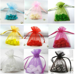 New Organza Sacos de Jóias Sacos de Presente de Casamento Xmas Roxo Azul Rosa Amarelo Preto 7 * 9 cm 9 * 12 cm Sacos de Jóias cores Misturadas