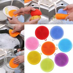 Multifunktions Silikon Dish Bowl Reinigungsbürste Scheuerschwamm Topf Pan Wash Pinsel Küchenreiniger Waschen Werkzeug 7 Farbe WX9-184