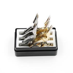 Petits ciseaux à sourcils 12pcs / lot tondeuse en métal outil de beauté forme de grue GoldSliver ciseaux en acier inoxydable SC-061