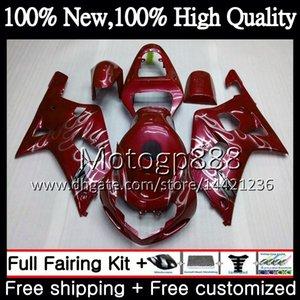 Body Wine red para SUZUKI GSX-R600 GSXR 750 K1 GSXR750 01 02 03 23PG18 GSXR 600 01 03 GSX-R750 GSXR600 2001 2002 2003 New Fairing Bodywork