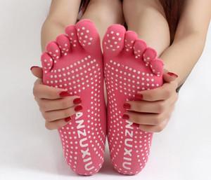 높은 품질의 다채로운 요가 양말 5 발가락 면화 양말 운동 운동 필라테스 여성을위한 편안한 발 마사지 양말 무료 배송