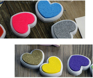 2015 New Arrival Candy Colored Heart Shaped Inks Love Diy Creative Partner Multicolor Stamp Pad Stamp DHL Free