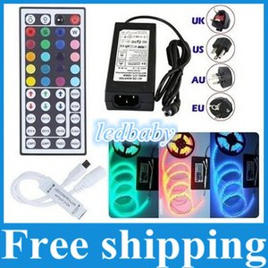 Para Navidad Led Lights 5050 SMD Led Strips Luz RGB Impermeable IP65 5 M 300 Leds + 44 Keys IR Control Remoto + 12 V 5A Transformer Drivers