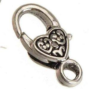 100 unids nueva diy accesorios de joyería de moda de metal de plata de época corazón gota de agua grandes toggles ganchos corchetes de la langosta para la joyería que hace 17mm