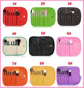 Free DHL Professional 7 pcs pinceaux de pinceaux de maquillage Set outils maquillage Kit de toilette Laine Marque Make Up Brush Set Case PY