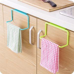Wholesale- Bathroom Towel Rack Hanging Holder Organizer Bathroom Kitchen Cabinet Cupboard Hanger door back stuck rack drop shipping
