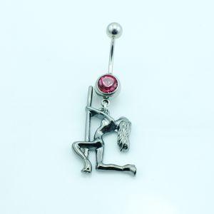 Anello classico ombelico Anello acciaio inossidabile Barbell Dangle Gun Nero Dancing Girls Navel Anelli Piercing Body Jewelry
