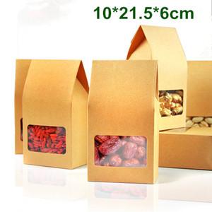 Großhandels120pcs / Lot 10 * 21.5 * 6cm Kraft Paper Box mit Sichtfenster DIY Geschenk-Verpackung Nahrungsmittelspeicher Verpackung Oragan Beutel für Snack-Plätzchen Nüsse