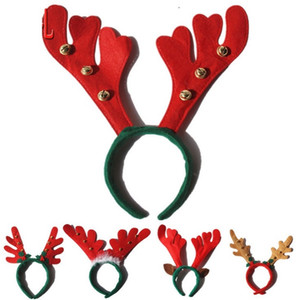 Headband De Natal Crianças Galhadas Cabeça Hoop Com Pequenos Sinos Elk Bonito Decorações De Natal Dos Desenhos Animados Modelagem Animal wen4805