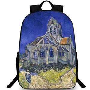 Церковь в Овере Ван Гог живопись школьный рюкзак Рюкзак досуг рюкзак спортивная школа сумка открытый рюкзак