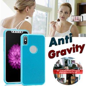 Glitter Anti Gravidade Caso selfie mágico Nano Fixo Absorva parede Antigravity capa para iPhone XS Max XR X 8 7 6 Plus Samsung S10 E S9 S8 S7