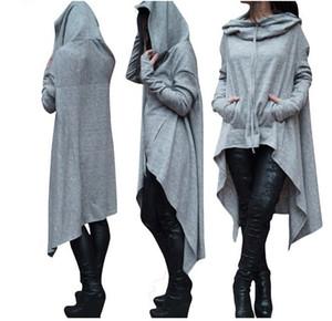 Nouveau Femmes Nouveau Solide Long Hoodies Femme Pulls Casual Lâche Front Front Dos Court Long Long Hoodies Irréguliers Tops À Manches Longues