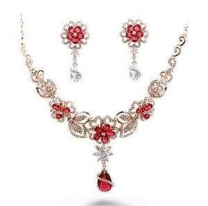 more color crystal waterdrop butterfly flower wedding bride set necklace earings (ma52) eetre