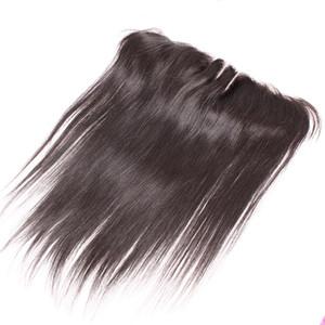 Kulak Dantel Frontal 3 Yollu Bölüm Dantel Kapatma Silk Düz% 100 insan hai için 13x2 Dantel Frontal saç parçaları 8-20inch Brezilyalı Saç Uzantıları Kulak
