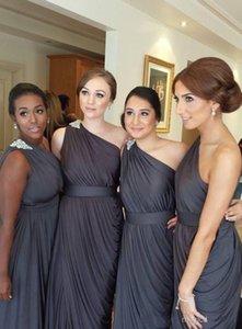 Vestidos de dama de honra Vintag New Barato Um Ombro Cinza Até O Chão Pick Up Drapeado Bainha Para Casamentos Beads Party Dress Prom Vestidos Sob 100