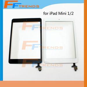 홈 버튼 IC와 iPad 미니 1 2 터치 스크린 디지타이저 어셈블리에 대 한 10PCS 화이트 블랙 유리 전면 렌즈 교체 부품 무료 배송