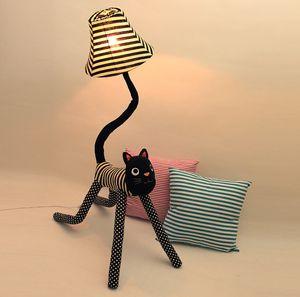 Clownkatze Stoff Stehlampen, Stehlampe kreative süße Kinder, Wohnzimmer Schlafzimmer Nachttischlampe, Leselampe Nachtlichter