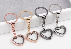 10pcs / lot strass coeur flottant médaillon pendentif avec porte-clés verre vivant charmes magnétiques médaillon porte-clés