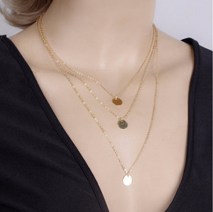 necklace fashion jewelry Women Brief Gold Plated Sequin 3-layer Chains Chokers Necklaces Wholesale Drop Shipping SN775