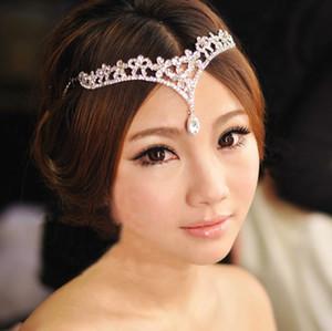 Barato estilo coreano mujeres Austria Crystal V forma gota de agua corona Tiaras Hairwear boda nupcial joyería accesorio HeadPieces envío gratis