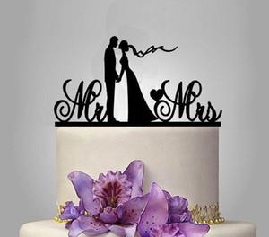 Gâteau Toppers Silhouette Mariée et le marié M. Mme Wedding Acrylique Cake Topper Anniversaire AMOUR Cake Topper Mariée Marié Décoration de Mariage