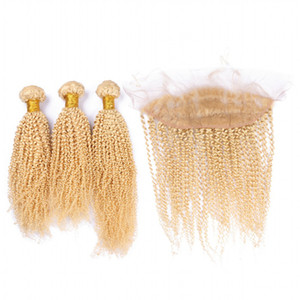 Bleached Blonde Color #613 Deep Curly Virgin Brazilian Human Hair 3 Bundles With 13*4 Ear To Ear Lace Band Frontal Closure 4Pcs Lot