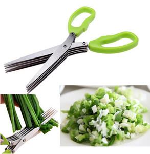 Ferramentas de Cozinha de Aço Inoxidável Acessórios de Cozinha Facas 5 Camadas Tesoura Sushi Shredded Scallion Cut Herb Scissors
