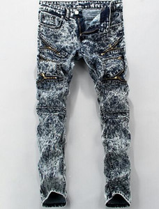 Mens Jeans New Fashion Black Brand Clothing Spring Autumn Clothing Long Pants Zippers Design Trousers
