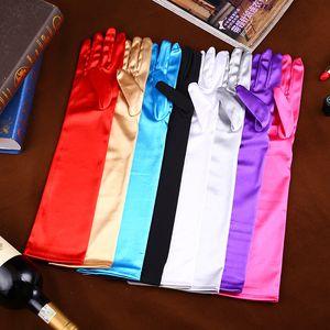 قفازات الرقص Satin Wedding Etiquette الجديدة باللون الأسود والأبيض والأحمر والوردي والذهبي والفضي والأزرق الفاتح واللون للاختيار وطول 45 سم