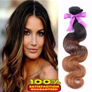 4Pcs Lot Ombre 1B 4 30 Peruvian Virgin Hair 100g Malaysian Virgin Hair Body Wave 100% Unprocessed Remy Human Hair Weave Weaving Hair Bundles