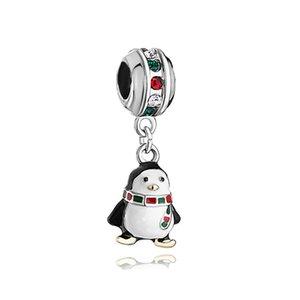Estilo europeo metal lindo colorido cristal bufanda Pingüino cuelga abalorios infantil encantos de la suerte Se adapta a Pandora charm bracelet