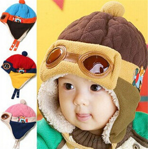200pcs HOT Baby 4 colors Kids Earmuffs Pilot Cap Hot Warm Aviator Earflap Hat for Winter warm hat for baby D455