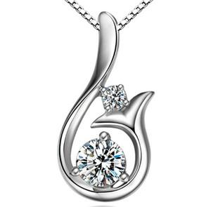 Collana a sospensione a ciondolo con diamanti di alta qualità Zircone cubico 30% 925 Sterling Silver Little Mermaid Pendant Collana per gioielli delle donne della festa nuziale