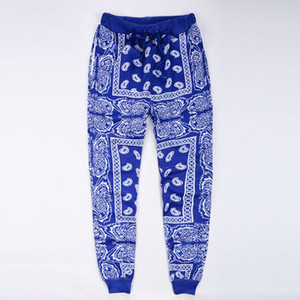 Atacado-mens sweatpants sweatpants swag sweatpants hombre vermelho azul bandana corredores calças dos homens hip hop calças das mulheres streetwear unisex