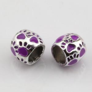 Hot ! 50pcs Purple Enamel Footprint Large Hole Spacer Beads Fit Bracelet DIY Jewelry 8x10mm