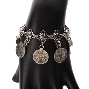 Boho Boho Cigano Prata Antiga Turca Esculpido Coin Pulseira Jóias Étnica Tribal Festival de Jóias Por Atacado 12 Pçs / lote