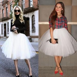 2015 5 레이어 흰색 Tulle 파티 스커트 뜨거운 판매 여성 레이디 걸스 짧은 치마 Tulle Tutu 정장 착용 여성 의류 무릎 길이 스커트