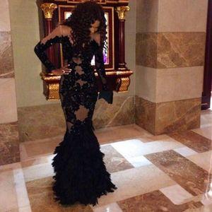 2020 New prom Kleider Sexy langen Ärmeln SpitzeAppliques Feder durchschauen Gewand Soiree Mermaid Party Kleider Abendkleider 167