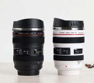 Neue 5 Generation Kameraobjektiv Becher 400 ml Kreative Canon Tragbare Edelstahl Tumbler Reise Isolierflasche Milch Kaffeetasse Neuheit geschenk tassen