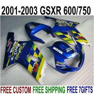 Carene ABS di alta qualità per SUZUKI GSX-R600 GSX-R750 Kit carenatura per movistar bluetooth 2001-2003 K1 GSXR 600/750 01 02 03 SK40