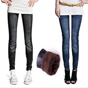 Wholesale-free shipping inverted cashmere warm women faux denim jeans leggings plus velvet folds NZ008
