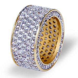 Хип-Хоп Мужчины Полный Цирконий Круглые Кольца Позолоченные Blingbling Gemstone Ring Мода Хип-Хоп Медь Рэппер Ювелирные Изделия Кольца Размер 7-11