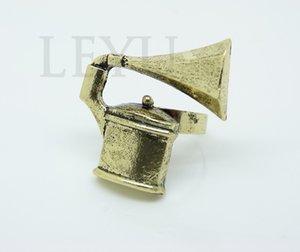 Min.order ist $ 15 (Mischungsauftrag) - Europäer und AmericanDo The Old Gramophone Retro übertriebene Eröffnung Ring Factory Outlets-J163