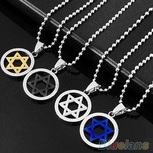 Нержавеющая сталь кулон ожерелье мужчины унисекс серебро еврейская звезда Давида 08AS