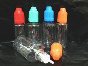 Garrafa de agulha 5ml-50ml PE / PET Garrafa de conta-gotas de plástico vazia E Garrafa de óleo líquida com bonés coloridos para crianças 1000PCS