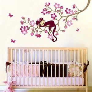 Cute Monkey Sleeping on Flower Tree Adesivo Sticker Farfalle rosa che volano intorno Flower Blossom Tree Branch Wall Art Murale Decor