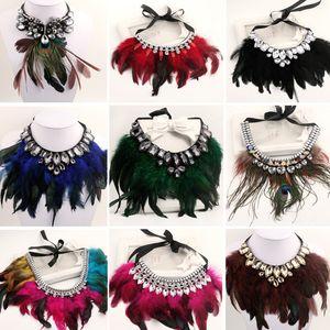 12 cores new fashion cristal maxi flor pena mulheres strass pingente de fita choker colar bib colar