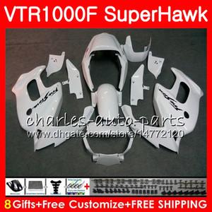 Corps blanc brillant Pour HONDA VTR1000F SuperHawk 97 98 99 00 01 02 03 04 05 91NO22 VTR 1000F 1997 1998 2000 2000 2003 2003