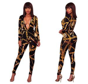 2018 Spring Глубокий V шеи Sexy Комбинезон Золотая цепь Printed Bodycon Комбинезон для женщин длинным рукавом Rompers женщин комбинезон с поясом
